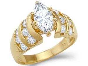 Solid 14k Yellow Gold Marquise CZ Cubic Zirconia Large Engagement Ring New 1.75 ct