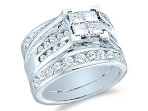 14k White Gold Diamond Engagement Ring & Wedding Band Three 3 Ring Set Solitaire Style Center Setting Large Princess and Round Cut Diamond Ring  (2.0 cttw, G - H Color, SI2 Clarity)