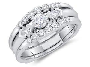 14k White Gold Diamond Engagement Ring & Wedding Band Three 3 Ring Set Solitaire Three 3 Stone Style Center SettingDiamond Ring (3/4 cttw, 1/5 ct Center, G - H Color, SI2 Clarity)