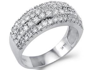 Solid 14k White Gold Round CZ Cubic Zirconia Wedding Anniversary Band Ring 2.0 ct