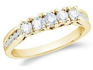 14k Yellow Gold Round Cut Five Diamond Ladies Womens 5 Stone Wedding or Anniversary Ring Band with Side Stones (3/5 cttw, ...