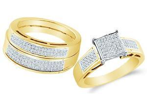 10k Yellow Gold Trio 3 Three Ring Matching Engagement Wedding Ring Band Set - Round Diamonds - Micro Pave Princess Shape Center Setting (3/5 cttw, H Color, I1 Clarity)