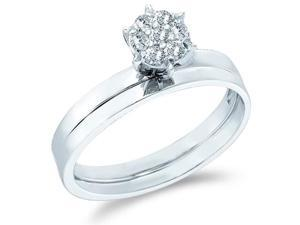 10k White Gold Diamond Classic Traditional Engagement Ring w #47; Plain Solid Wedding Band Solitaire
