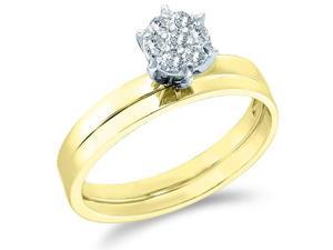 10k Yellow Gold Diamond Classic Traditional Engagement Ring w #47; Plain Solid Wedding Band Solitair