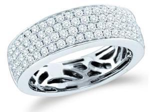 14k White Gold Round Cut Diamond Channel Set 4 Row Ladies Womens Wedding or Anniversary 6mm Ring Band (.98 cttw, G - H Color, I1 Clarity)