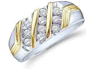 10k Yellow and White Two 2 Tone Gold Ten 10 Stones Channel Set Round Cut Mens Diamond Wedding Ring Band 9mm (1/2 cttw, H Color, I1 Clarity)