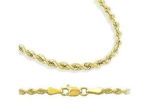 14k Yellow Gold Hollow Rope Chain Necklace 2.5mm 16""