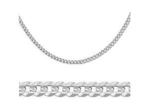 14k Solid White Gold Cuban Curb Link Bracelet 2.4mm 7""