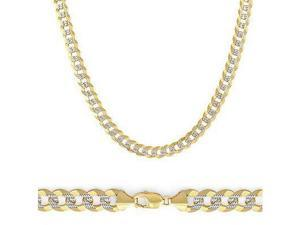 Solid 14k Yellow White Gold Pave Curb Cuban Chain 3.1mm 24""