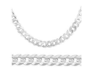 Solid 14k White Gold Cuban Curb Chain Necklace LONG 7.1mm 26