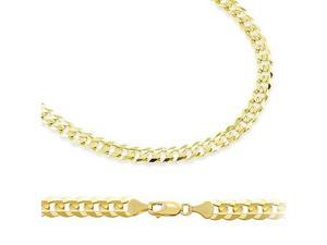 14k Solid Yellow Gold Cuban Curb Link Bracelet 3.2mm 7