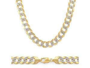 Pave Solid 14k Yellow White Gold Curb Cuban Chain 8.2mm 22""