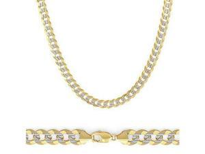 Solid 14k Yellow Two Tone Gold Pave Cuban Curb Chain 4.5mm 22