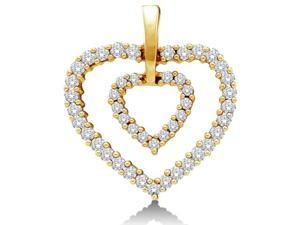 14K Yellow Gold Two 2 Heart Love Heart Channel Set Round Diamond Pendant -  #40;Height  #61; 16mm  #