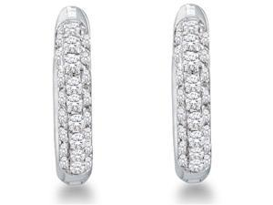 10k White Gold Micro Pave Set Round Diamond Hoop Earrings  - (1/6 cttw, G - H Color, SI2 Clarity)