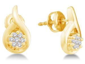 14K Yellow Gold Channel Invisible Set Round Diamond Flower Stud Earrings with Screw Back Closure -