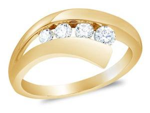 10K Yellow Gold Diamond Wedding , Anniversary OR Fashion Right Hand Ring Band - w/ Channel Set Round Diamonds - (9mm Band Width) - (1/3 cttw, G - H Color, SI2 Clarity)