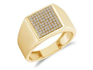 10K Yellow Gold Diamond MENS Wedding Band OR Fashion Ring - Square Princess Shape Center Setting w/ Micro Pave Set Round Diamonds - (1/4 cttw, G - H Color, SI2 Clarity)