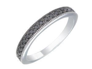 Sterling Silver Black Diamond Wedding Band (1/5 CT) In Size 8