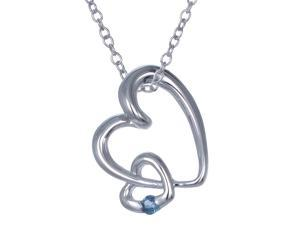 Vir Jewels Sterling Silver Blue Sapphire Heart Pendant With 18 Inch Chain