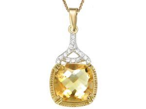 "Yellow Gold Plated Sterling Silver Citrine Pendant Cushion Cut (5 CT) With 18"" Chain"