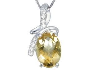 "Sterling Silver Citrine Pendant Oval Shape (3.75 CT) With 18"" Chain"