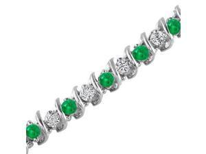 14K White Gold Emerald & Diamond Bracelet (5 CT)