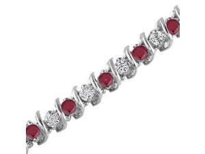 14K White Gold Ruby & Diamond Bracelet (5 CT)