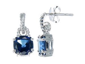 Sterling Silver Created Blue Sapphire Earrings (2 CT)
