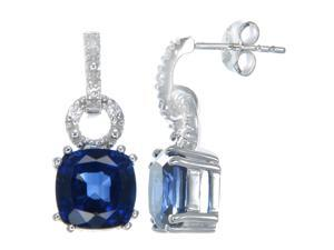 Sterling Silver Created Blue Sapphire Earrings (4.20 CT)