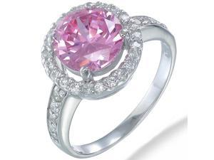 Sterling Silver Pink and White CZ Ring In Size 8