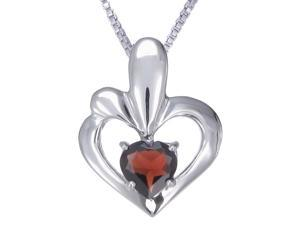 Vir Jewels Sterling Silver Garnet Heart Pendant (0.90 CT) With 18 Inch Chain