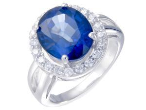 Vir Jewels Sterling Silver Created Blue Sapphire Ring (4.90 CT) In Size 7