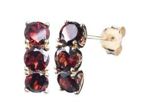 Vir Jewels Yellow Gold Plated Sterling Silver 3 Stone Garnet Earrings (2.50 CT)