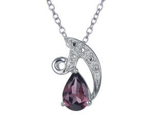 Vir Jewels Sterling Silver Garnet Pendant With 18 Inch Chain