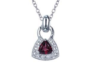 Sterling Silver Garnet Pendant (2/5 CT) With 18 Inch Chain
