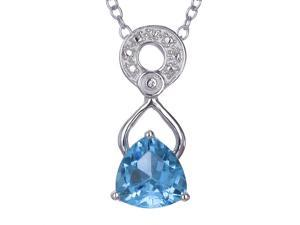 Sterling Silver Blue Topaz Pendant (1 CT) With 18 Inch Chain