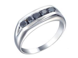 Sterling Silver Men's 5 Stone Black Diamond Ring (0.80 CT) Size 11