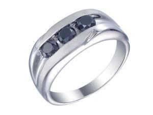 Silver Men's Black Diamond Engagement Ring 1.10 CT Size 7