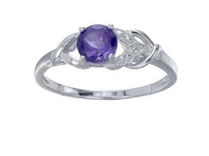 Sterling Silver Amethyst Ring (3/4 CT) In Size 7
