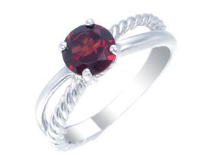 Sterling Silver Garnet Ring (0.80 CT) In Size 6
