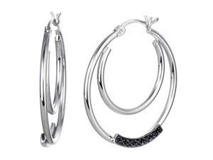 Sterling Silver Black Diamond Hoop Earrings (1/20 CT)