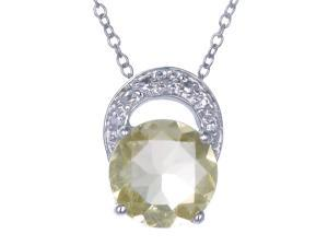 Sterling Silver Lemon Quartz Pendant (1.50 CT) With 18 Inch Chain