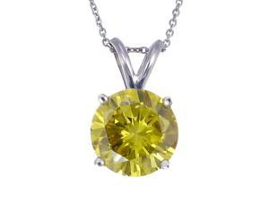 1.50 CT Yellow Diamond Solitaire Pendant 14K White Gold With Chain