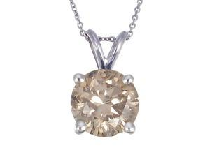 14K White Gold Champagne Diamond Solitaire Pendant (1 CT)
