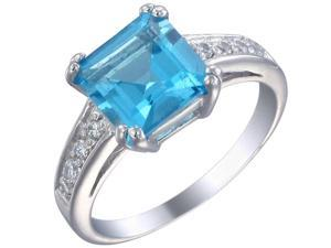 Sterling Silver Swiss Blue Topaz Ring (1.90 CT) In Size 9