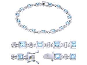 Sterling Silver Blue Topaz Bracelet (2.80 CT)