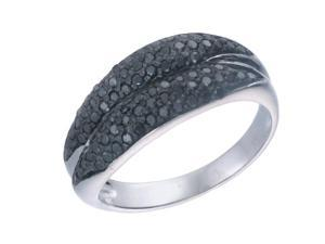 Sterling Silver Black Diamond Ring (0.60 CT) In Size 7