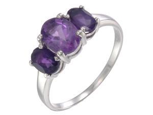 Sterling Silver Amethyst 3 Stone Ring (2.40 CT) In Size 7