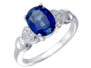 Sterling Silver Created Blue Sapphire Ring (1.75 CT) In Size 7